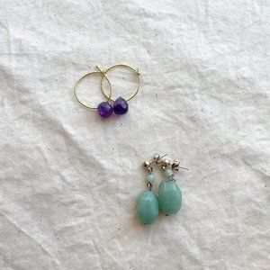 Minimalist Gemstone Earrings Set